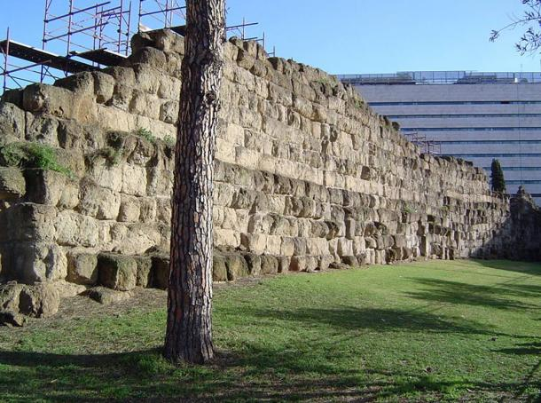 Large section of the Servian Wall near the modern Termini Railroad station, Rome, Italy.