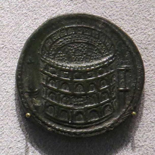 Sestertius of Titus celebrating the inauguration of the Colosseum, minted in 80 AD.