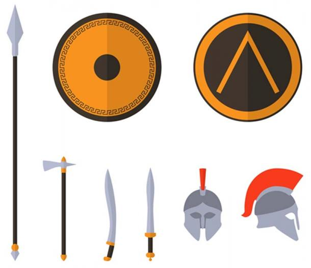 Set of ancient spartan weapons and protective equipment. Spear, sword, gladius, shield, axe, helmet. (Dmitrii Korolev / Adobe)