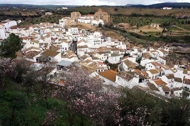 "Setenil de las Bodegas in Cadiz Province, Spain is one of the well-known ""white villages."""