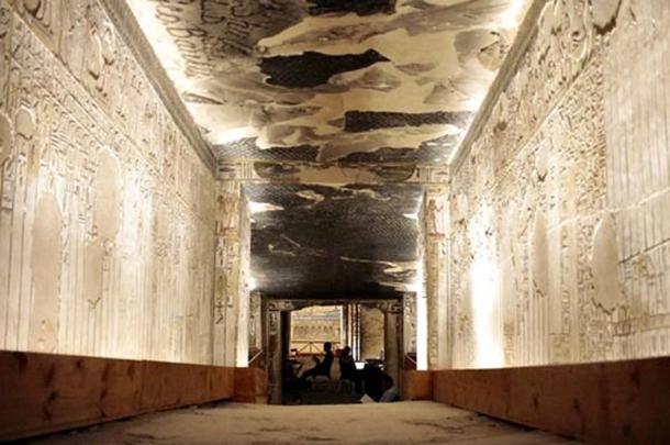 Inside Seti I's tomb.