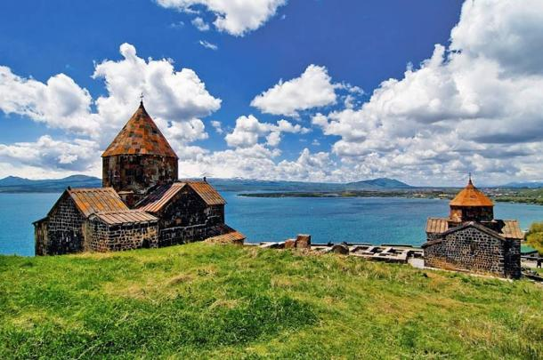 Sevanavank Monastery on the northwestern shore of Lake Sevan, Armenia. Iron casting furnaces dating back to the second millennium BC have been found regionally.