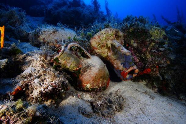 Several amphorae found at a shipwreck site