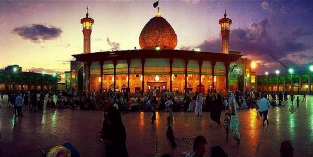 Shah Cheragh at night with pilgrims.