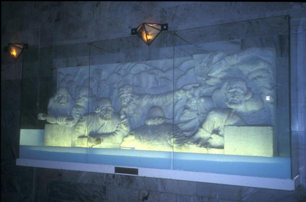 Scenes from the Shahnameh carved into reliefs at Ferdowsi's mausoleum in Tus, Iran