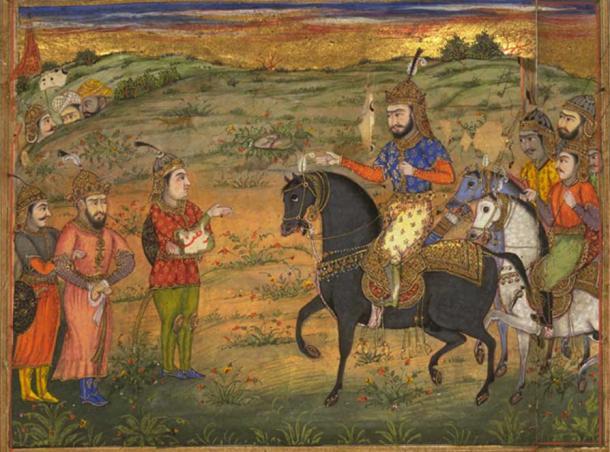 Shahnameh illustration of Valerian captured by Shapur I's men.