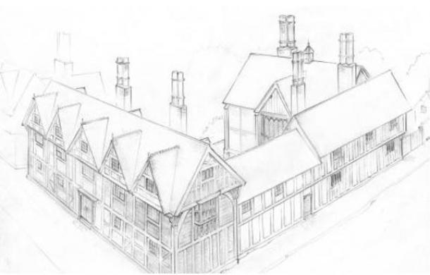 : A Shakespeare Birthplace Trust rendering of New Place, Shakespeare's final home