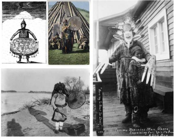 Shamanism is a very general (sometimes even debated) concept, comprising mediator-role figures of several different cultures, with great diversity. That is why this image is a tableau of Shaman figures from several cultures.