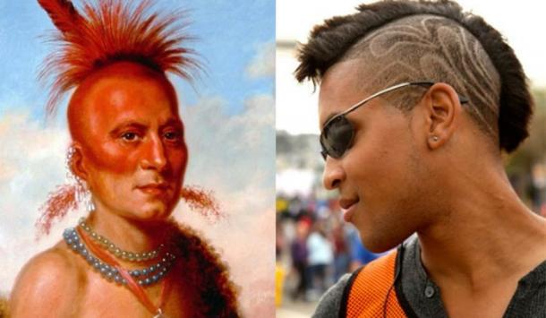 [Left] 1822 portrait of Sharitahrish, Pawnee chief with headdress and shaven hair. (Public Domain) [Right] Modern Mohawk haircut with designs