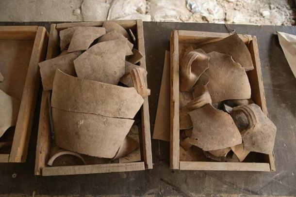 Shattered jugs found during excavations.