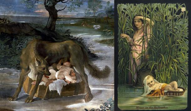 Left; She-Wolf Suckling Romulus and Remus, detail (Public Domain) Right; Moses in the Bulrushes. (Image: Archivist / Fotolia)