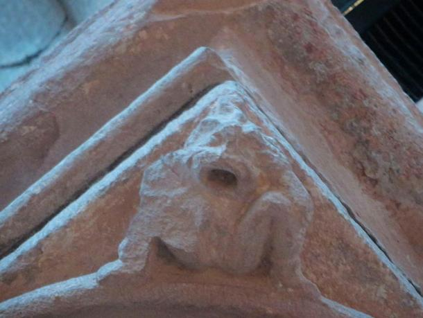 Sheela na gig on the south west pillar of the presbytery in St. Magnus Cathedral, Orkney, c. 12-13th centuries, Romanesque and Norman.