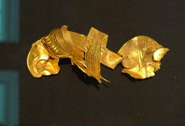 Sheet gold plaque with intricate details, from Staffordshire Hoard.