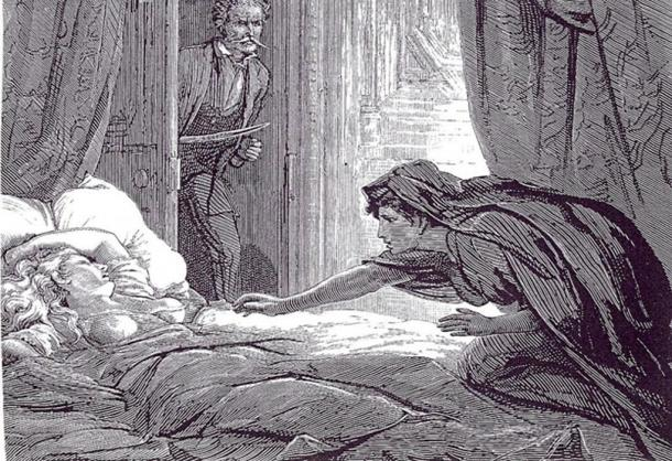 Artwork based on Sheridan le Fanu's Carmilla, an early influential work of vampire literature.