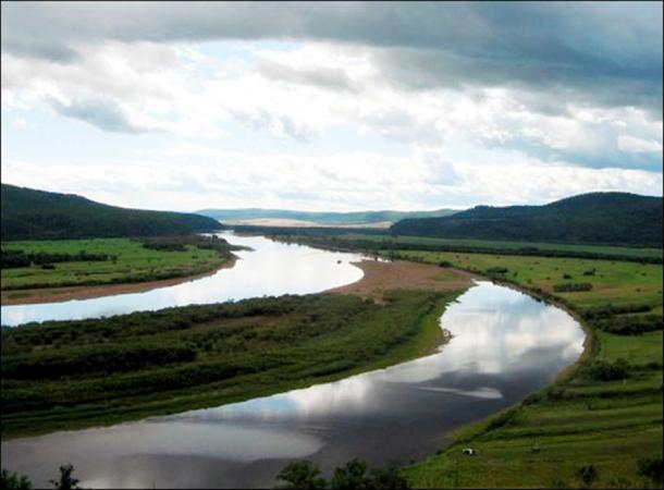 A view of the Shilka river, close to the estuary of the Largi river.