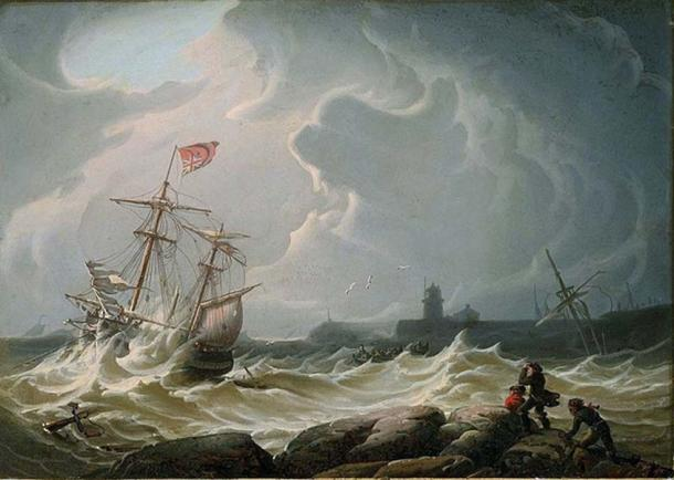 Ship In Storm by Robert Salmon. (Public Domain)
