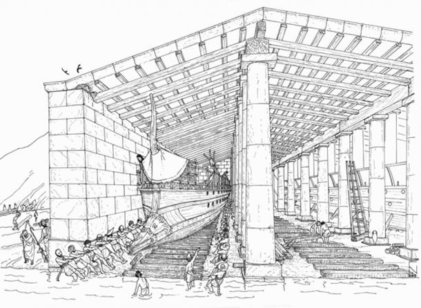 Ship-sheds with a ship at bay in a drawing from the University of Copenhagen