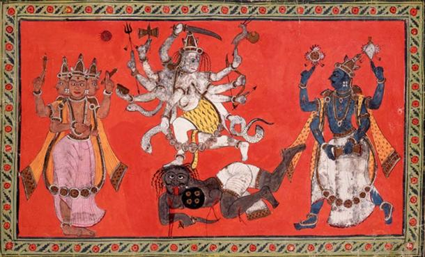 Shiva Performing the Dance of Bliss while Vishnu and Brahma Provide Musical Accompaniment