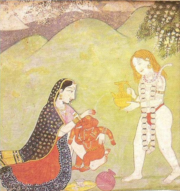 Shiva and Parvati giving a bath to Ganesha. Kangra miniature, 18th century