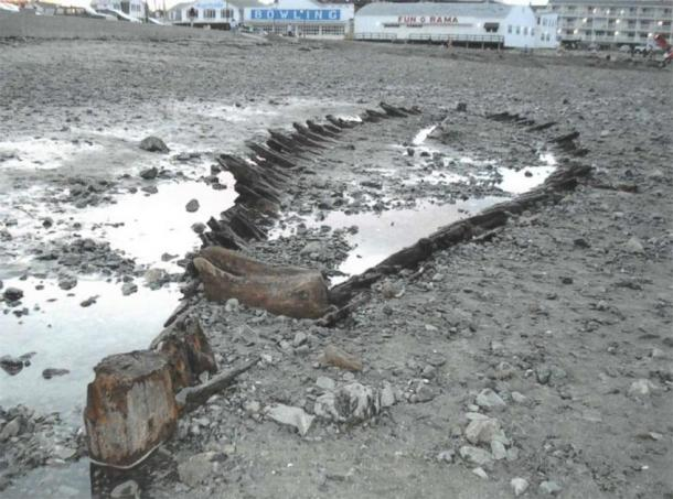 The Short Sands Shipwreck was last unearthed in 2018 after a large storm. (Records of American Shipwrecks)