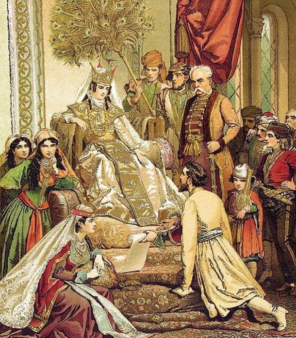 Shota Rustaveli presents his poem to Queen Tamar, a painting by the Hungarian artist Mihály Zichy (1880s)