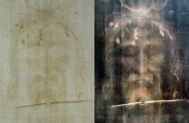 Positive and negative images of the Shroud of Turin.
