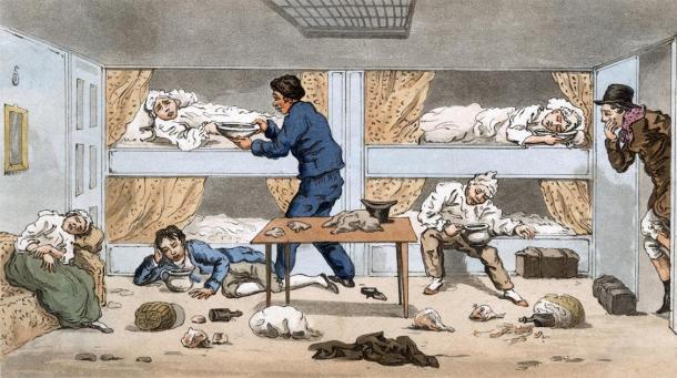 Sick people aboard a ship. Credit: Archivist / Adobe Stock