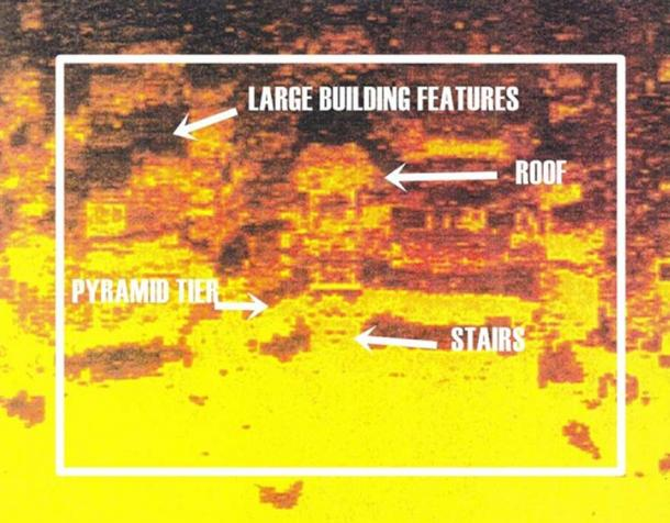 Side sonar scan off the coast of Bimini at 130 feet under the water. This color image reveals the staircases, doors, and the roof of a pyramid complex. (Image provided by William Donato and ARE).
