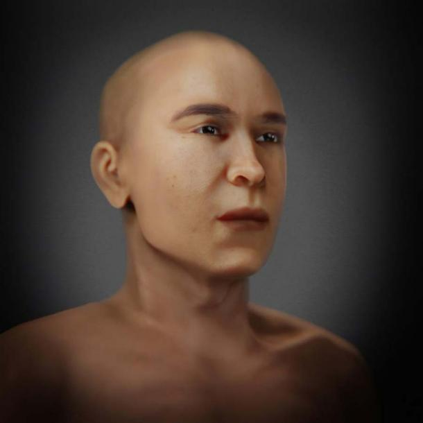 Side view of the facial reconstruction of Mummy KV55. (FAPAB Research Center)