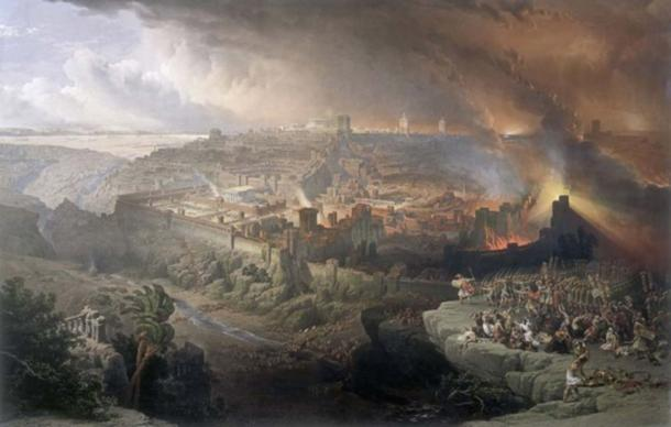The Siege and Destruction of Jerusalem by the Romans Under the Command of Titus, A.D. 70, Painter: David Roberts, c. 1850 AD