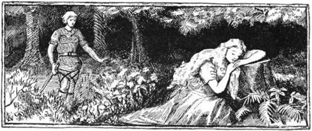 Sif sleeps while Loki lurks behind in an illustration (1894) by A. Chase.