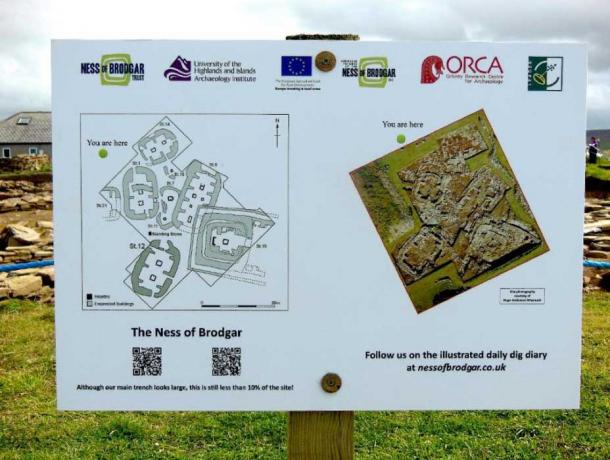 Signboard at the Ness of Brodgar excavation site showing plans of the buildings uncovered so far (Image: © Andrew Collins).