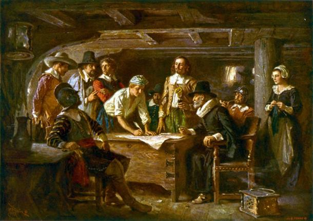Signing the Mayflower Compact 1620, a painting by Jean Leon Gerome Ferris 1899.