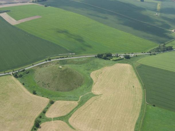 Aerial view of Silbury Hill and the A4 road.