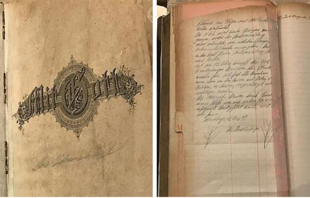The Silesian Bridge Foundation claims to have received the diary (left and right) from a Masonic lodge in Germany that it kept for decades after the end of the war. (WhatsNews2Day)
