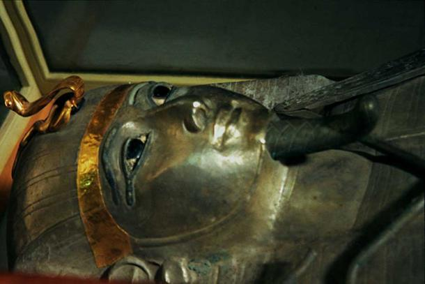 Silver Antropoid coffin of Psusennes I, discovered by Pierre Montet, Egyptian Museum