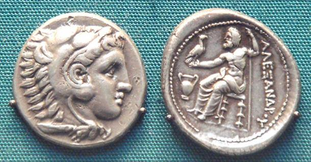 Silver coin of Alexander wearing the lion scalp of Herakles, British Museum.