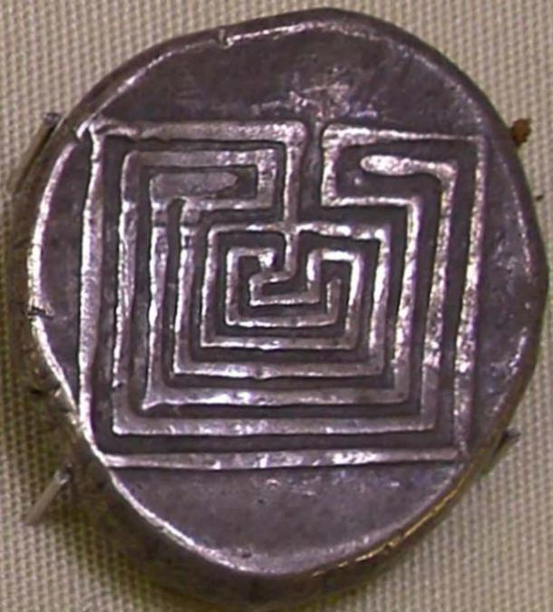 Silver coin with labyrinth design from Knossos, Crete.