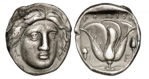 Silver coins from Rhodes circa 316 – 305 AD with Helios represented on one side, a rose on the other. Was this the face of the Colossus of Rhodes?