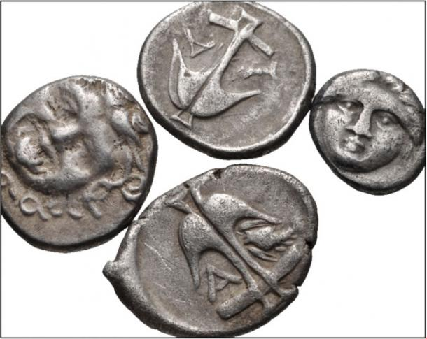 Silver coins of Apollonia Pontika in Thrace, featuring crayfish, anchors, and gorgoneion (Gorgon head).