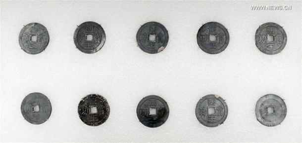 Silver coins were some of the treasures unearthed during excavations in Sichuan, China.