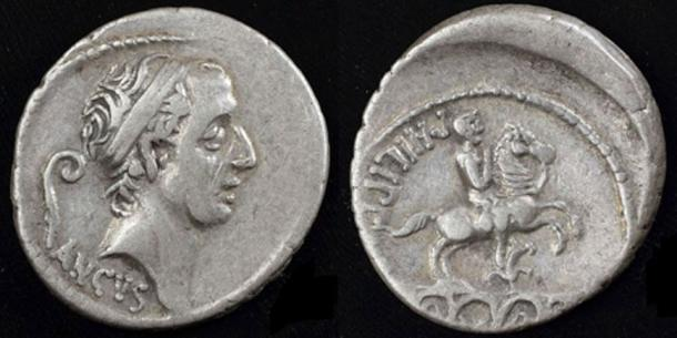 Silver denarius struck in Rome 57 BC showing Ancus Marcius.