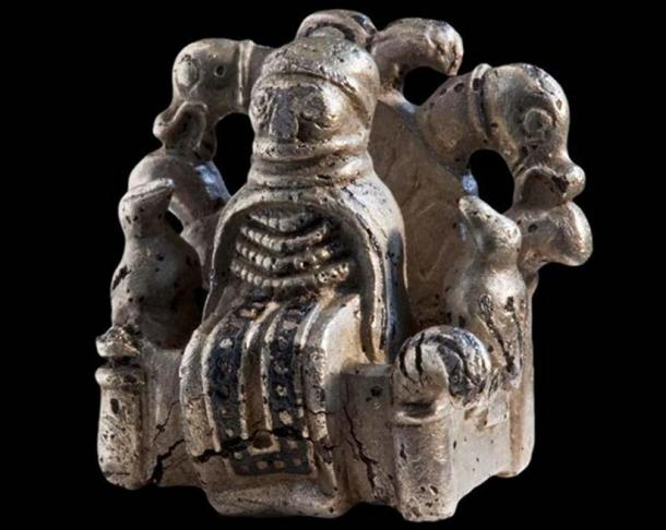 Silver figurine from Gammel Lejre: Odin on his high seat with his ravens and his wolves (Photo: National Museum of Denmark)