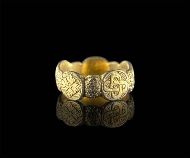 Late medieval silver-gilt finger ring found in the Tregynon area, Powys, Wales. (National Museum Wales)