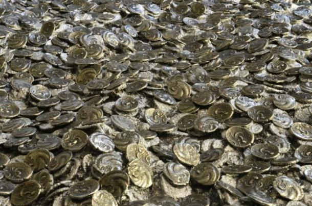 Silver/gold Roman and Celtic coins unearthed at the excavation site in Jersey. (Jersey Heritage)