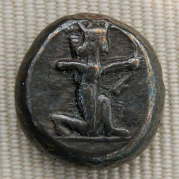 Silver shekel issued by King Darius I of Persia ca. 500–490 BC, obverse: the king of Persia firing his bow. (