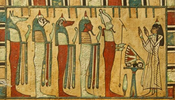 Lady Meresimen, Singer of God Amon, giving presents to Osiris and the Four Sons of Horus