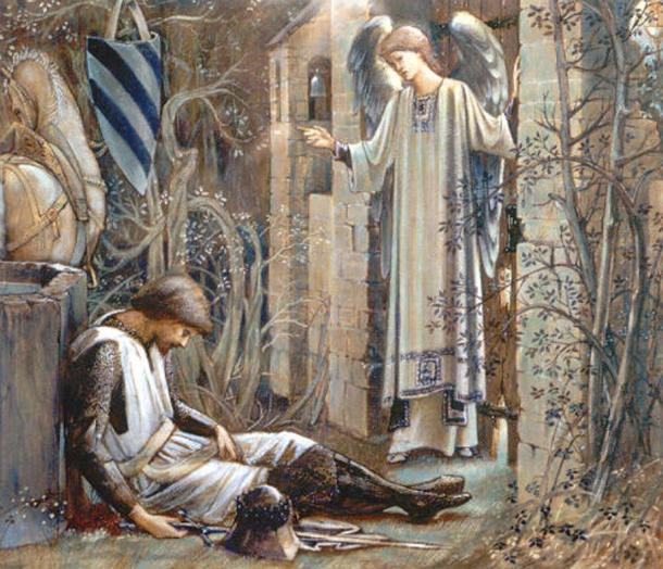 The Earthly Paradise (Sir Lancelot at the Chapel of the Holy Grail). By Edward Burne-Jones.