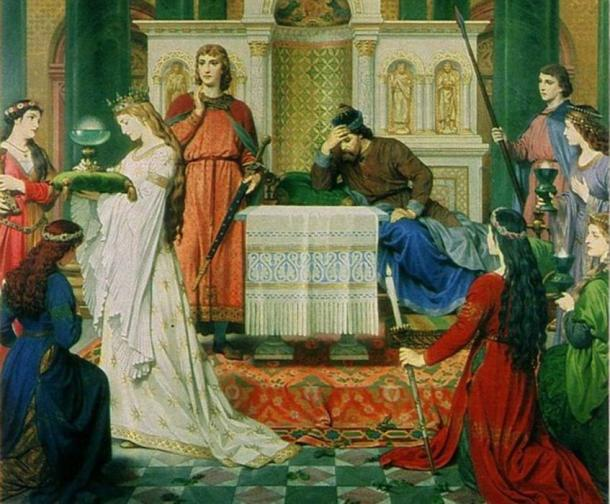 Sir Perceval and the Grail Maiden by the nineteenth-century German artist Ferdinand Piloty.