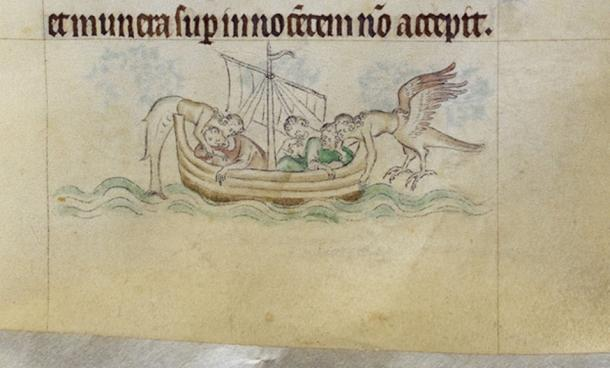 Sirens attack sailors in the 14th-century Queen Mary Psalter (London, British Library Royal B VII). The British Library